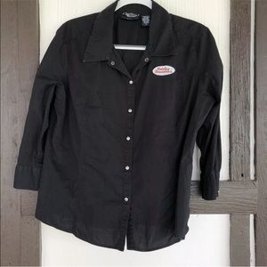 Harley Davidson Snap Embroidered Patch Blouse Top